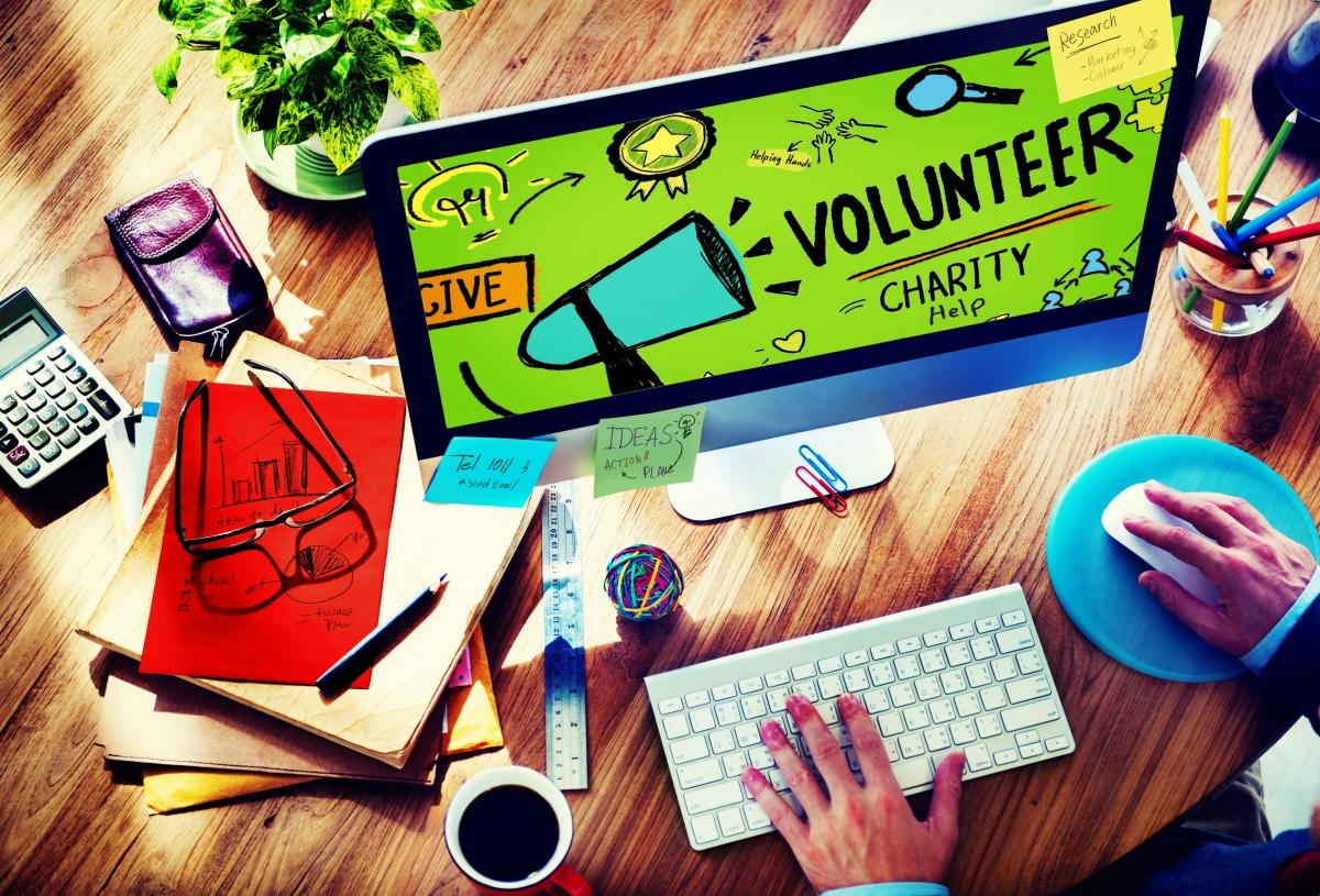 Volunteer on computer screen